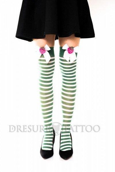 Ciorapi 3/4  model cu dungi, fundita si capsuni