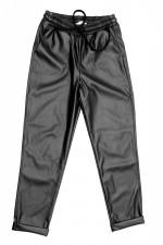 Pantaloni piele ecologica cu snur reglabil in talie si buzunare laterale