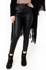 Pantaloni negri imitatie piele cu talie inalta si curea detasabila