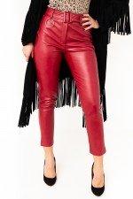 Pantaloni visiniu imitatie piele cu talie inalta si curea detasabila