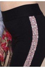 Colanti dama negri cu dunga laterala din paiete roz