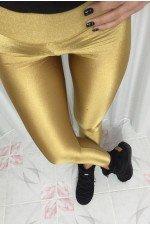 Colanti lycra cu talie inalta auriu