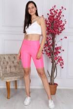 Colanti lycra scurti cu talie inalta roz neon