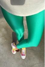 Colanti lycra cu talie inalta si banda lata verde deschis