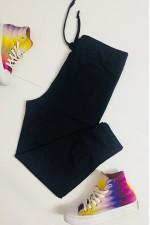 Pantaloni dama lungi negru cu snur reglabil in talie si buzunare