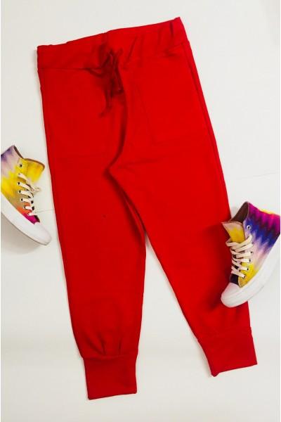 Pantaloni dama lungi rosu cu snur reglabil in talie si buzunare