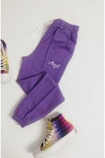 Pantaloni lungi mov lila din bumbac cu snur reglabil in talie si buzunare