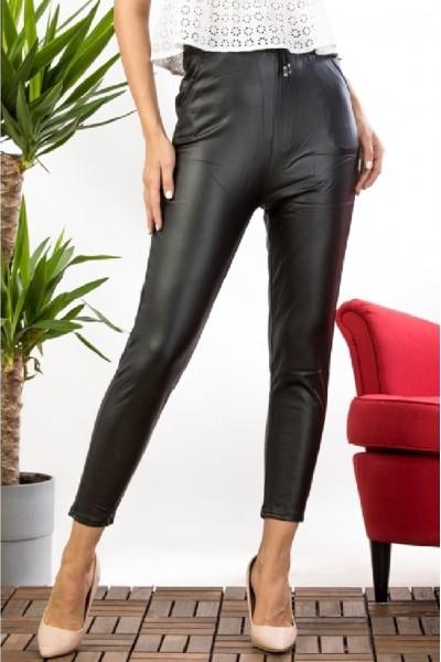 Pantaloni dama negru imitatie piele cu talie inalta si banda elastica cu snur model vatuit