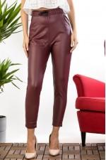Pantaloni dama visiniu imitatie piele cu talie inalta si banda elastica cu snur model vatuit