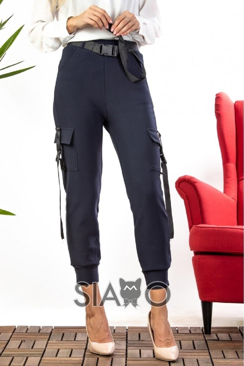 Pantaloni dama tip cargo cu interior imblanit bleumarin