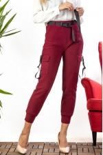 Pantaloni dama tip cargo cu interior imblanit bordo