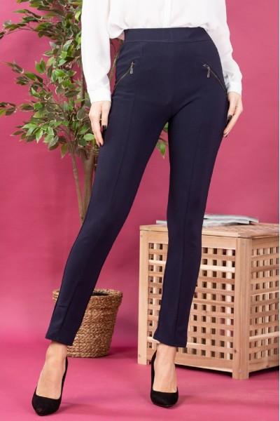 Pantaloni dama tip colanti cu fermoare bleumarin