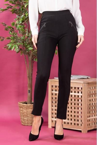 Pantaloni dama tip colanti cu fermoare negru