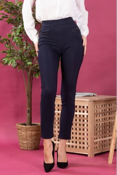 Pantaloni dama tip colanti cu buzunare bleumarin