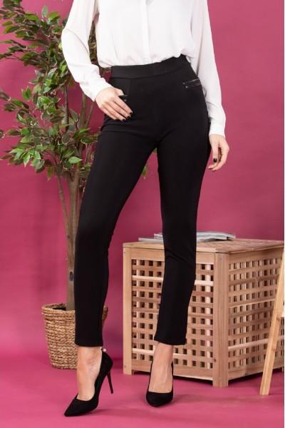 Pantaloni dama tip colanti cu buzunare negru