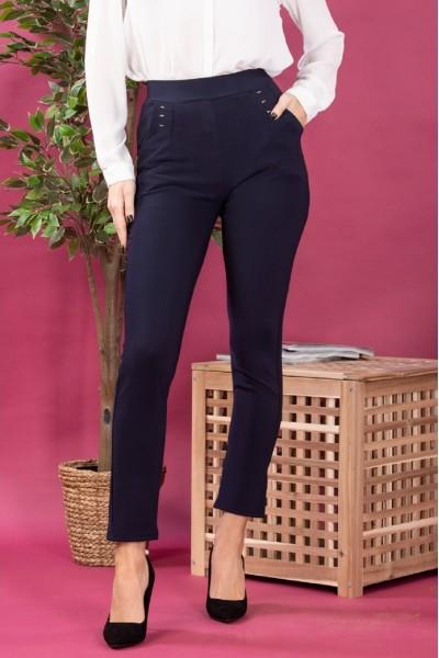 Pantaloni dama tip colanti cu buzunare cu aplicatii bleumarin