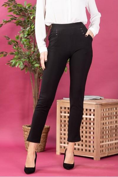 Pantaloni dama tip colanti cu buzunare cu aplicatii negru