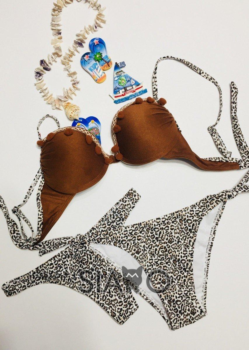 Costum de baie 3 piese Imprimeu Leopard