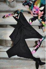Costum de baie 3 piese Negru cu Imprimeu Floral