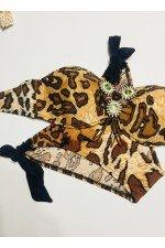 Costum de baie 2 piese Imprimeu Leopard