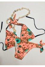 Costum de baie 2 piese Piersica cu imprimeu Floral