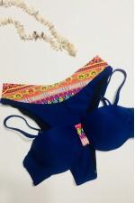 Costum de baie 2 piese bleumarin cu imprimeu colorat