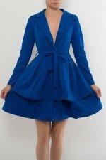 Rochie albastra in clos cu maneca lunga