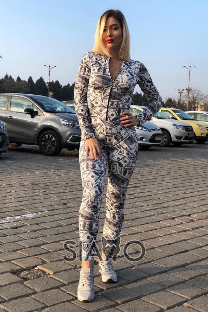 Salopeta dama lycra casual sport cu fermoar