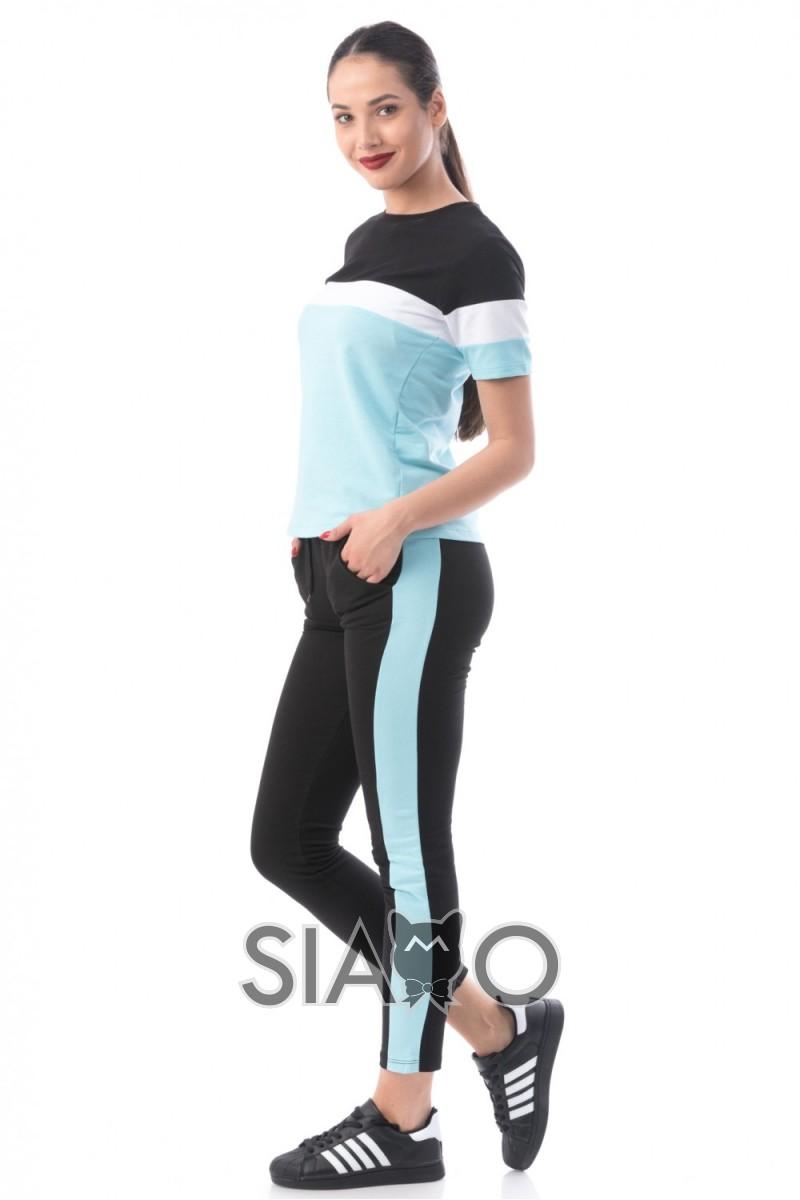Trening dama bleu negru din bumbac cu bluza cu maneca scurta