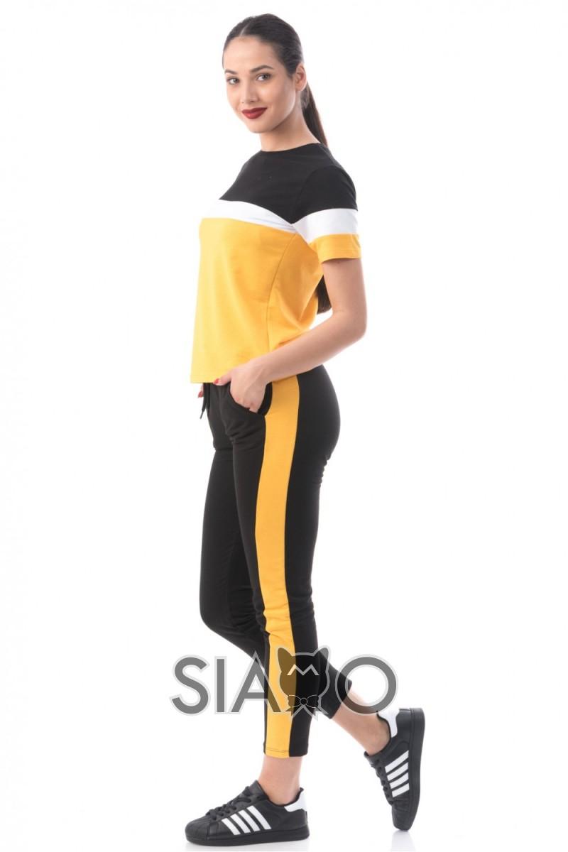 Trening dama negru galben din bumbac cu bluza cu maneca scurta