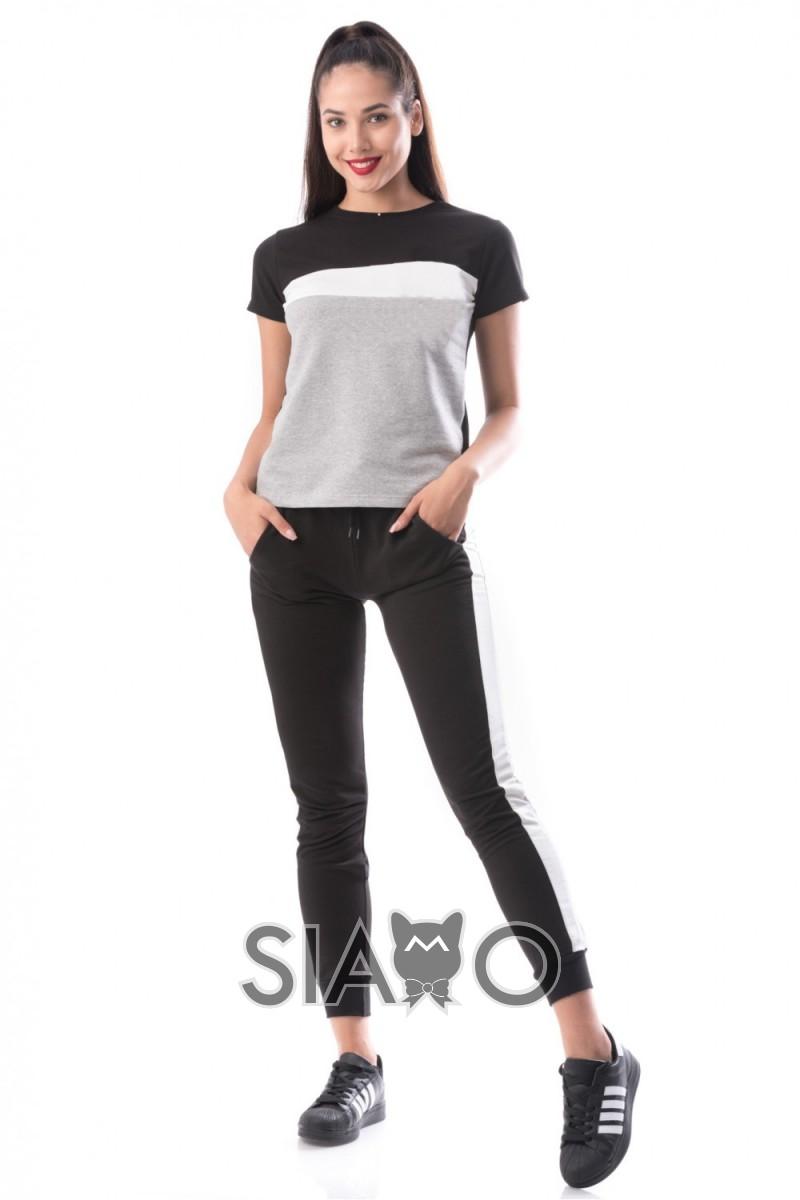 Trening dama negru gri din bumbac cu bluza cu maneca scurta