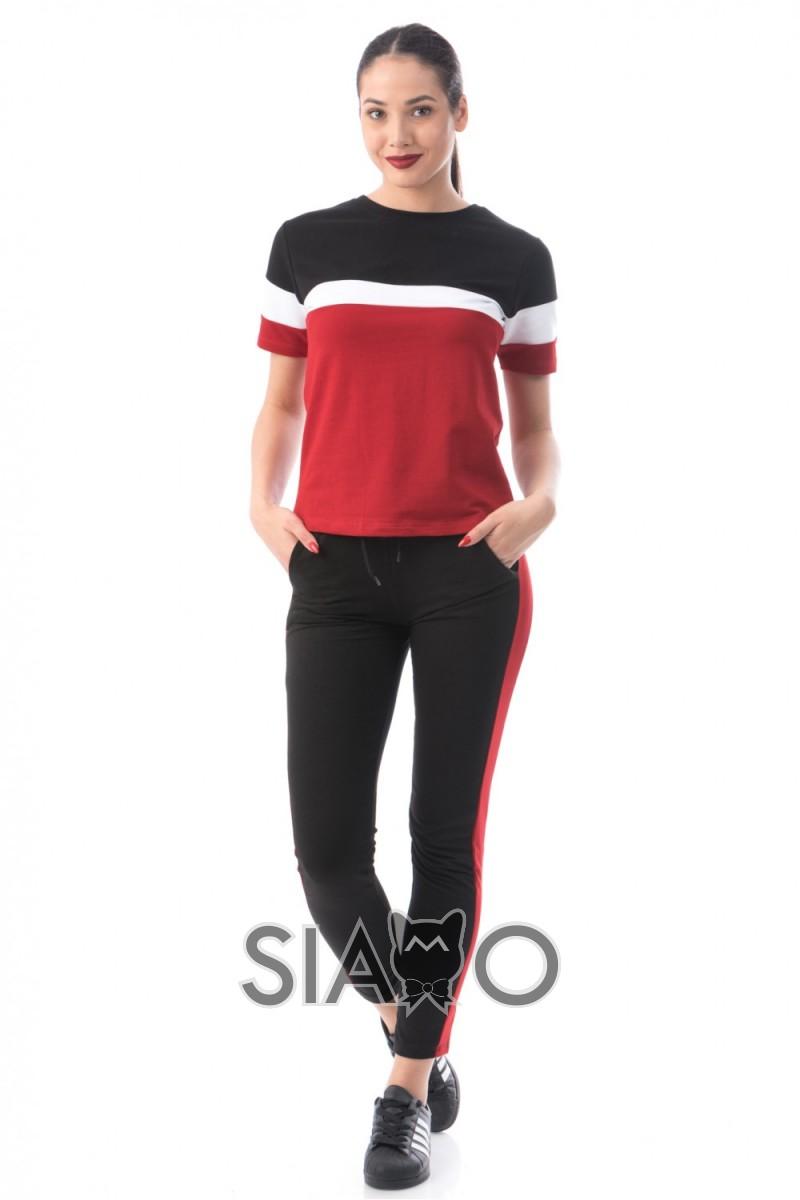 Trening dama negru rosu din bumbac cu bluza cu maneca scurta