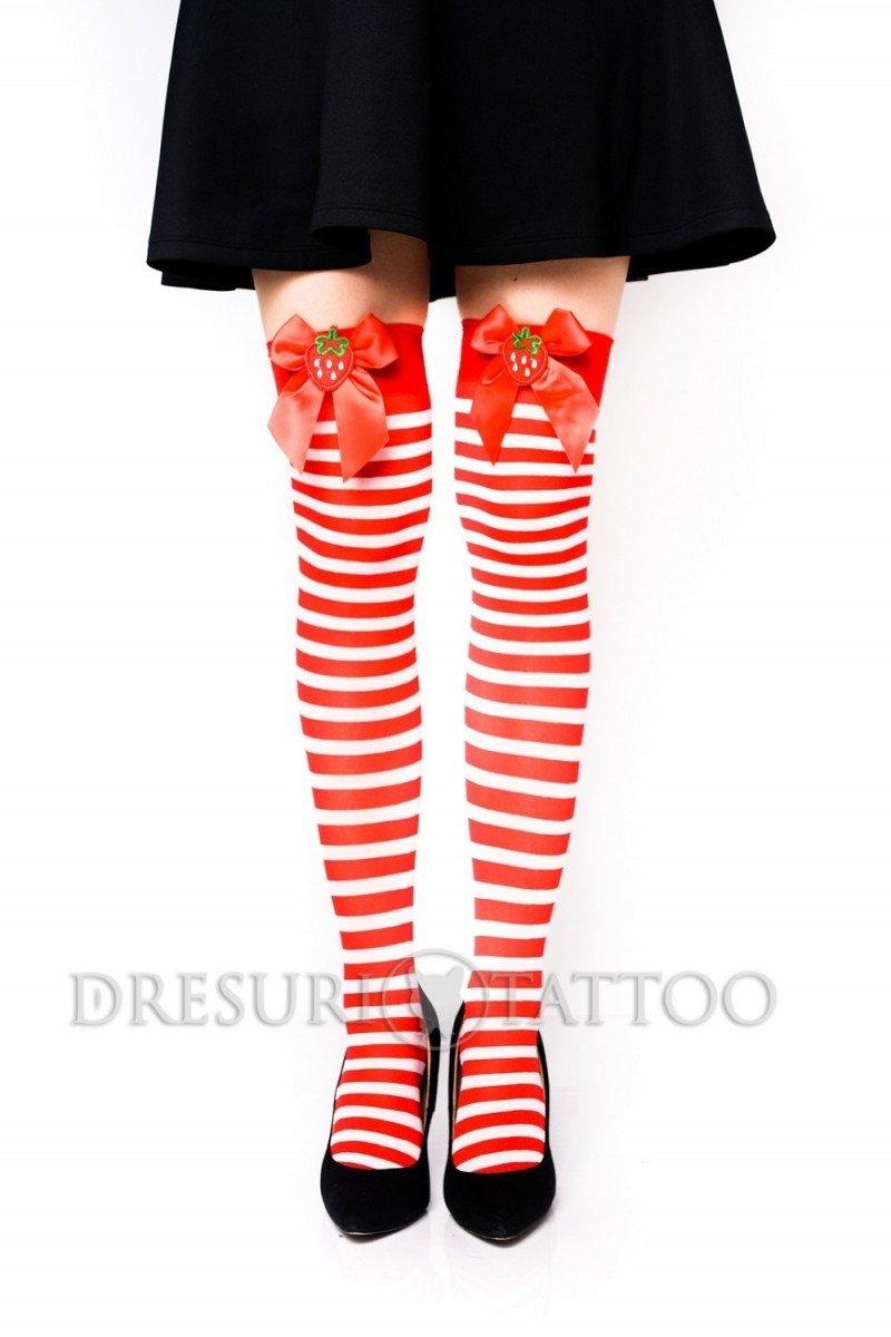 Ciorapi ¾ model cu dungi,fundita si capsuni